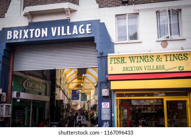 LONDON- AUGUST, 2018: Exterior of  Brixton Village, a popular and vibrant food  market in south west London