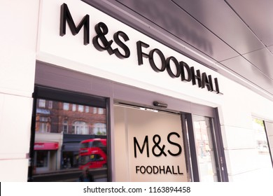 LONDON- AUGUST, 2018: Marks & Spencer's Foodhall exterior entrance and logo. A British food retail company.