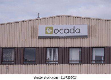 LONDON- AUGUST, 2018: An Ocado warehouse in Wimbldon, south west London. A British online Supermarket