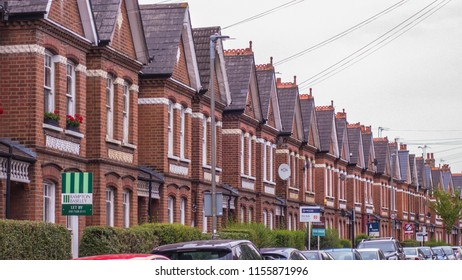 LONDON- AUGUST, 2018: A row of typical victorian terraced houses in Balham, south west London