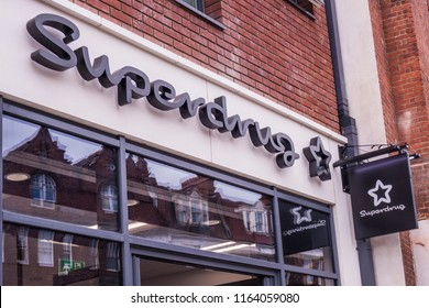 LONDON- AUGUST, 2018: Superdrug Stores PLC branch exterior signage and logo.  A health and beauty retailer