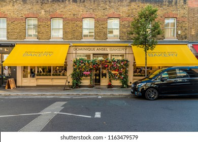 London. August 2018. A view in of the Dominique Ansel bakery in Belgravia in London