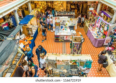 London. August 2018. A view of the interior of Camden Market in Camden in london