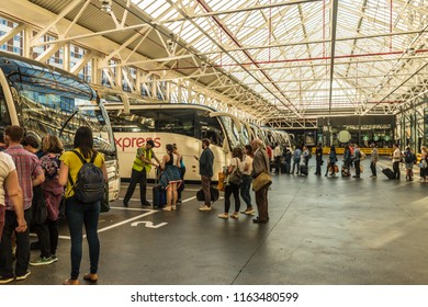 London. August 2018. A view of Victoria coach station in London