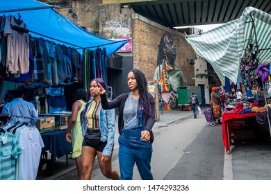 LONDON- AUGUST, 2019: Brixton Street scene, a vibrant area of south west London famous for its music and food culture
