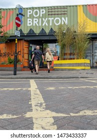 LONDON- AUGUST, 2019:  Pop Brixton- a street food, bar and nightlife location made from reused shipping containers in Brixton, south west London.