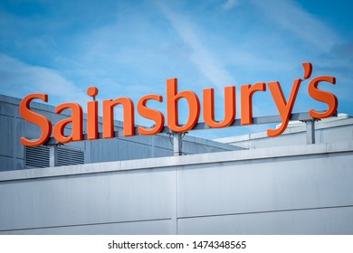 LONDON- AUGUST, 2019: Sainsbury's supermarket sign, a large British food retailer