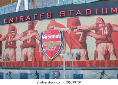 LONDON, AUGUST 21 2017. Exterior look of the Emirates stadium. A huge stadium for Arsenal football club.