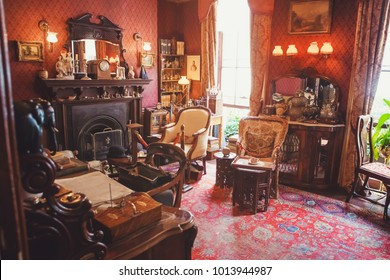 LONDON - AUGUST 24, 2017: The Sherlock Holmes museum is located on Baker Street and is dedicated to the fictional detective Sherlock Holmes. Inside the Sherlock Holmes Museum. Victorian style
