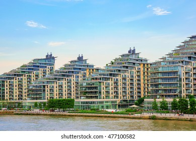 LONDON - AUGUST 25: These are modern waterfront apartment buildings which have recently been developed in Wandsworth on August 25th, 2016 in London