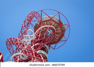 LONDON - AUGUST 26, 2016. The ArcelorMittal Orbit sculpture with slide at the Queen Elizabeth Olympic Park, a legacy of the Olympic Games designed by Anish Kapoor and Cecil Balmond.