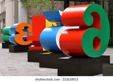 LONDON - AUGUST 26. One Through Zero is a collection of ten large fabricated metal number sculptures by Robert Indiana on exhibition in the financial district, on August 26, 2013 in London, UK.