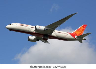 LONDON - AUGUST 28: An Air India Boeing 787 taking off on August 28, 2015 in London. Air India is the flag carrier airline of India headquartered in New Delhi.