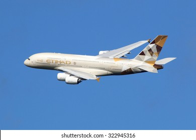 LONDON - AUGUST 28: An Etihad Airways Airbus A380 taking off on August 28, 2015 in London. The Airbus A380 is the world's largest passenger airliner. Etihad is an airline based in Abu Dhabi.