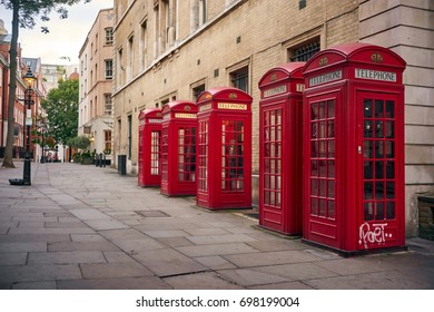 LONDON - AUGUST 28: London red phone box or kiosks. This cabins become a symbol of the city. August 28 2016 in London, England, UK