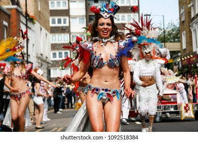 LONDON - AUGUST 29: Performers take part in the second day of Notting Hill Carnival, largest in Europe, on August 29, 2011 in London, UK. Carnival takes place over two days in every August.