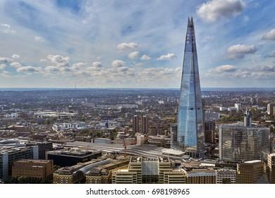 LONDON - AUGUST 31: City of London aerial view,  panorama form 32 floor of Walkie-Talkie building.  August 31 2016 in London, England, UK