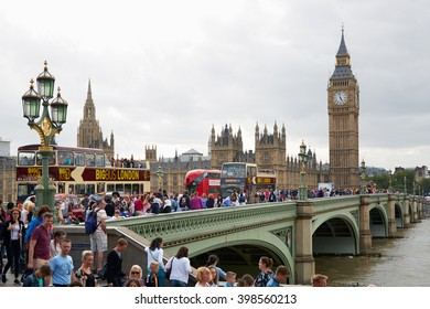 LONDON - AUGUST 4: Big Ben and crowd of tourists and people in a summer day on August 5, 2015 in London, UK. London is one of the most visited cities in the world.