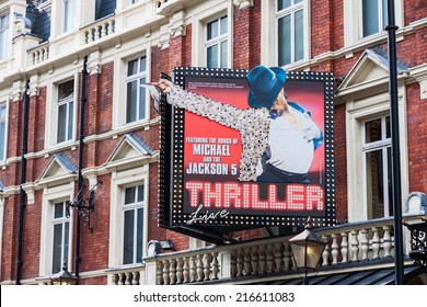 LONDON -AUGUST 4: Featuring Michael Jackson live on August 4, 2014  in London. Michael Jackson's Thriller Live is featured at the Lyric Theater, the oldest surviving theater on Shaftesbury Avenue.