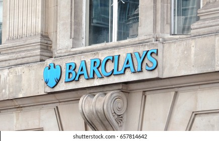 LONDON - AUGUST 6: A London Barclays branch logo is shown here on August 6, 2015. Barclays has over 4,750 branches in about 50 countries.