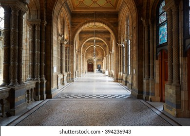 LONDON - AUGUST 7: Natural History Museum ancient architecture of empty corridor interior on August 7, 2015 in London, UK. The museum hosts a range of specimens from segments of natural history.