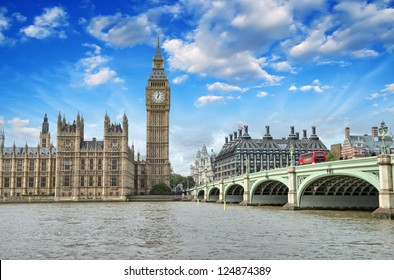 London. Beautiful view of Westminster Bridge and Houses of Parliament with Thames river.
