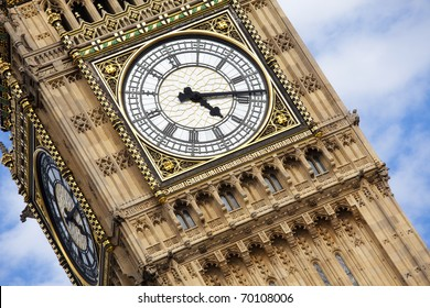 London Big Ben over blue sky as background.