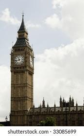 London Big Ben over white cloudscape.