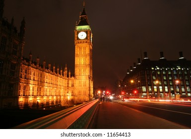 London, Big Ben tower from Westminster bridge at night
