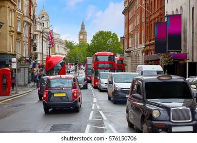 London Big Ben from Trafalgar Square traffic in UK