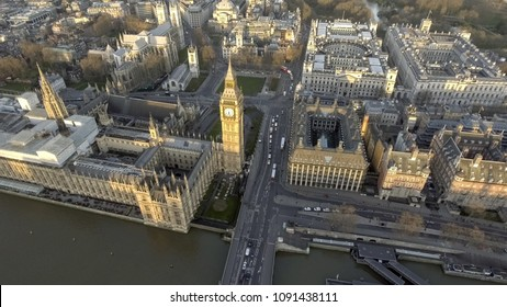 London Bird View of Houses of Parliament, Big Ben, Palace of Westminster and Gothic Historical Landmarks Buildings from Up High in England, United Kingdom