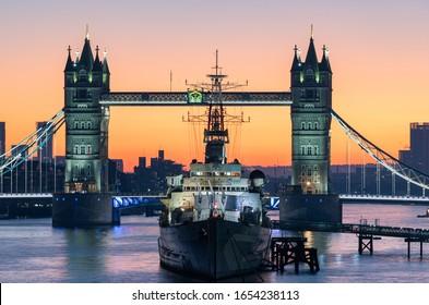 London Bridge colourful sunrise on the Thames