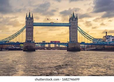London Bridge thames river traffic bus  sunset