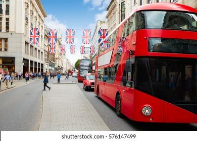London bus Oxford Street W1 Westminster in UK England