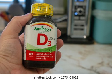 London, Canada, April 20 2019: Editorial illustrative photo of vitamin d3 supplement from Jamieson. Jamieson is a Canadian vitamin and mineral supplement company.
