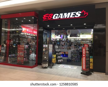 London Canada, December 15 208: editorial photograph of an EB games store. Electronics boutique is a pioneer in gaming stores.