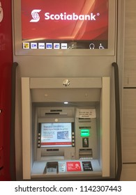 London Canada, July 25 2018: editorial photo of a scotiabank ABM machine. Scotiabank is Canada's third largest bank and is a leader in digital innovation.