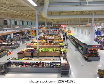 London Canada, October 22 2018: editorial photograph of the fruit and vegetable produce department of a loblaws superstore in Canada. Aerial view displaying the neatness of the grocery store