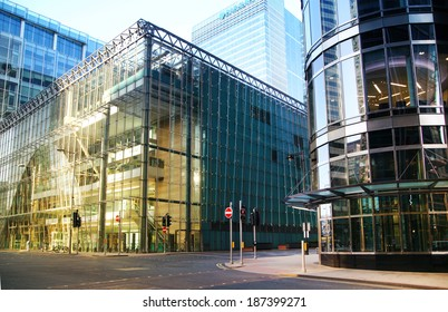 LONDON, CANARY WHARF UK - APRIL 13, 2014: - Modern glass architecture of Canary Wharf business aria, headquarters for banks, insurance, media and other world known companies.