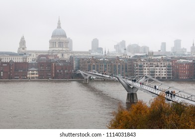 London center bank cityscape in fog