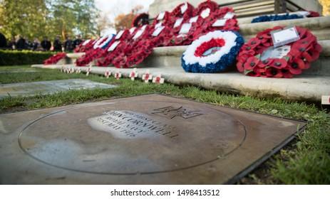 London, Central Park East Ham / 11 November 2018: Remembrance Sunday 100th Anniversary, Jack Cornwell plaque  -  Image