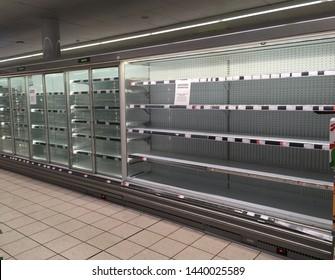 London, Chelsea/UK June 27 2019. Representative photo of empty shelves at Co Op supermarket