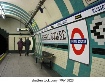 LONDON - CIRCA 2011: Commuters exit the Russell Square Tube Station circa 2011 in London. On July 7, 2005 a bomb exploded in a train en route to this station.