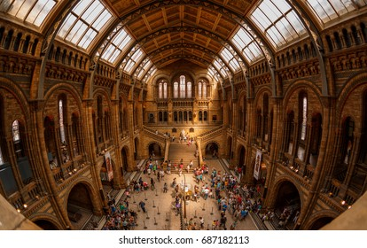 LONDON, circa 2015 - Fisheye shot of the Natural History Museum in London, England, UK