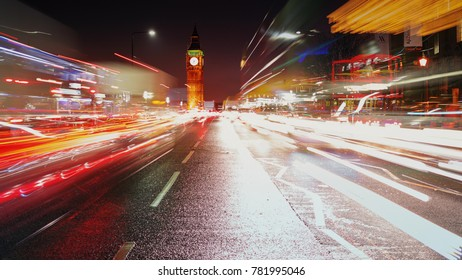 LONDON, circa 2017 - A long exposure night shot showing car light trails, the Westminster area and the Big Ben in London, England, UK
