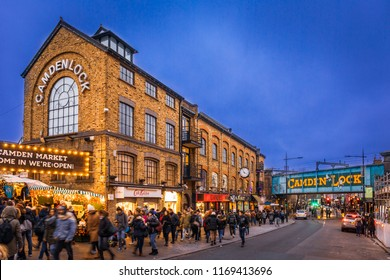 LONDON - CIRCA DECEMBER 2017: Camden Lock Market during Christmas time, London, United Kingdom