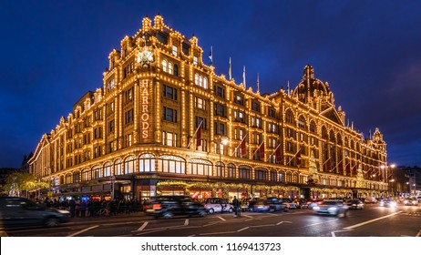 LONDON - CIRCA DECEMBER 2017: Harrods luxury department store with Christmas decorations, London, United Kingdom