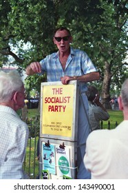 "LONDON - CIRCA JUNE 1991:An unidentified man expresses his political views at ""Speakers' Corner"" in London's Hyde Park circa June 1991. The area is famous for open-air public speaking and debate."