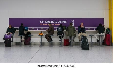 LONDON - CIRCA MAY, 2018: Gatwick International Airport Charging zone interior view.