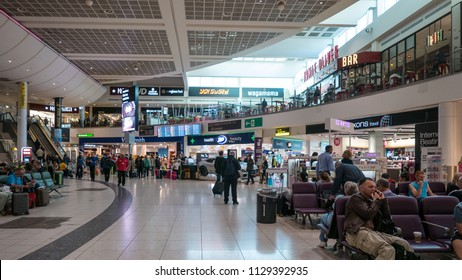 LONDON - CIRCA MAY, 2018: Gatwick International Airport stores area duty free interior view.